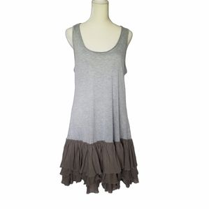 A'Reve raw edge tank dress with bottom ruffle